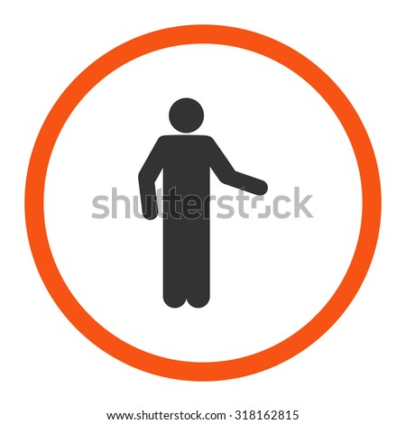 Invitation glyph icon. This rounded flat symbol is drawn with orange and gray colors on a white background.