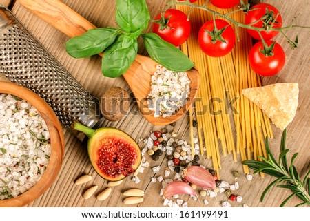 Invitation, italian ingredients - stock photo