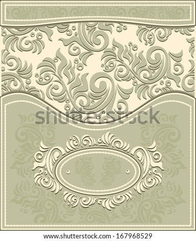 Invitation or Frame in Decorative floral background in pastel colors in antique style