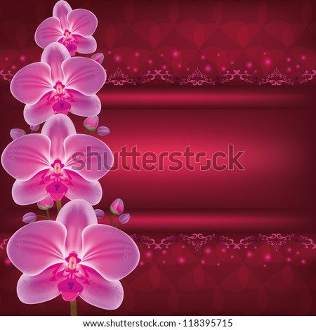 Invitation or greeting card with flower orchid, dark red glowing luxury background. Place for text. Raster version - stock photo