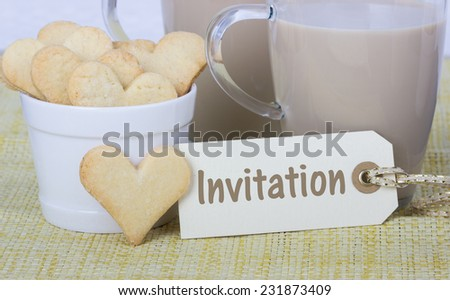 Invitation with Cookies and Glass of coffee/Invitation/Cookies - stock photo