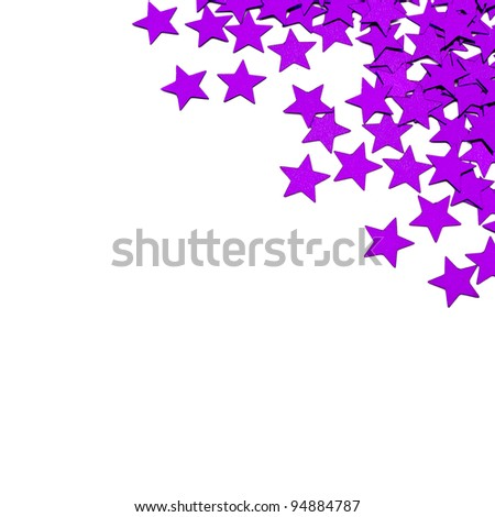 Invitation with purple stars and copyspace