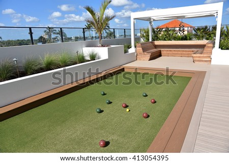 Inviting bocce ball court on artificial turf