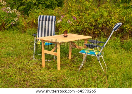 Inviting Garden Settings with a Table and two chairs - stock photo