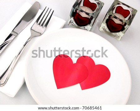 Inviting table for romantic meal - stock photo