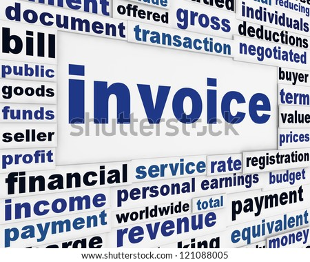 Invoice financial creative poster. Business transaction message background - stock photo