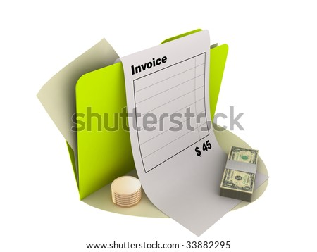 invoice icon with money on the ground