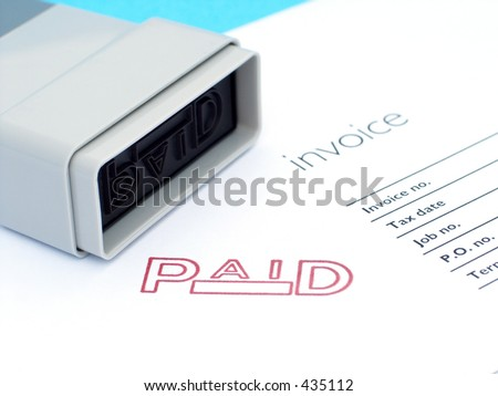 Invoice with ink stamp - stock photo
