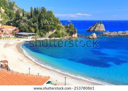 Ioanian sea shore with golden beach and blue water, Greece  - stock photo