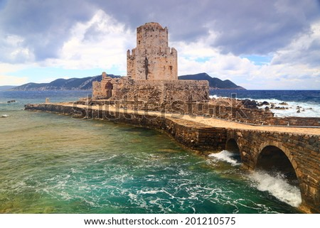 Ioanian sea surrounding fortified islet of Bourtzi near Methoni, Greece