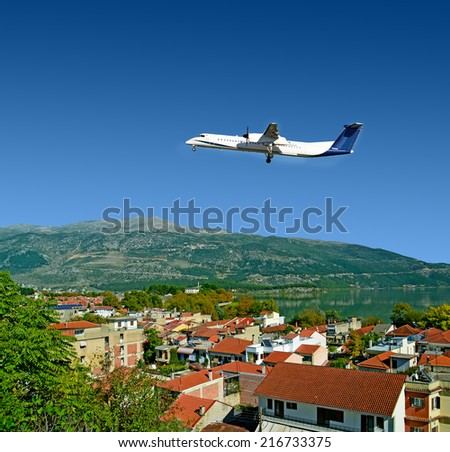 Ioannina city Greece - airplane - stock photo