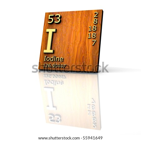 Iodine form Periodic Table of Elements - wood board - 3d made