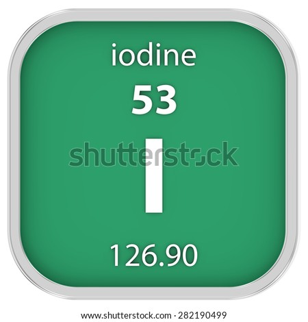 Iodine material on the periodic table. Part of a series. - stock photo