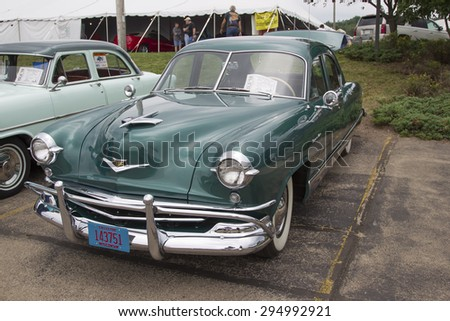 IOLA, WI - JULY 12:  1952 Kaiser Virginian Traveler Car at Iola 42nd Annual Car Show July 12, 2014 in Iola, Wisconsin.