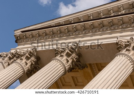 Ionian column capital architectural detail - stock photo