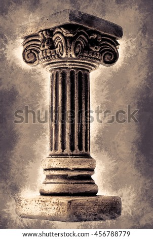Ionic column on white background. Vintage painting, background illustration, beautiful picture, abstract texture - stock photo