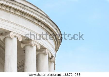 Ionic Columns at Jefferson Memorial in Washington DC - stock photo