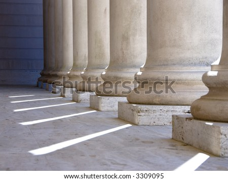 Ionic columns at Palace of the Legion of Honor in San Francisco. - stock photo