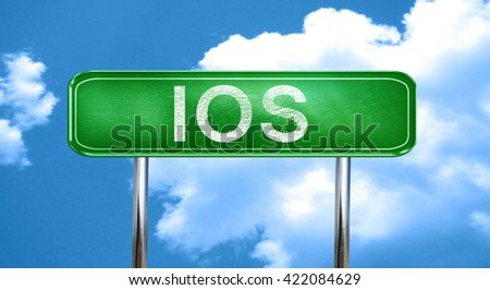 Ios vintage green road sign with highlights
