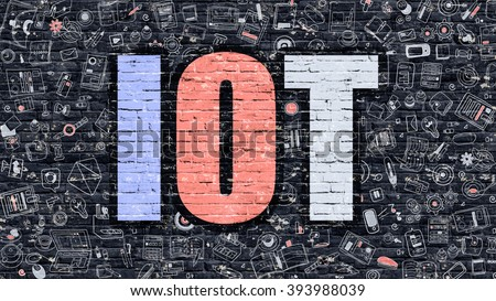 IOT - Internet of Things - Concept. IOT Drawn on Dark Wall. IOT in Multicolor Doodle Design. IOT Concept. Modern Illustration in Doodle Design Style of IOT. IOT Business Concept.