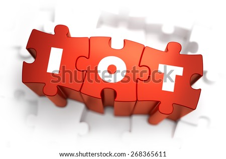 IOT - Text on Red Puzzles with White Background. 3D Render.  - stock photo