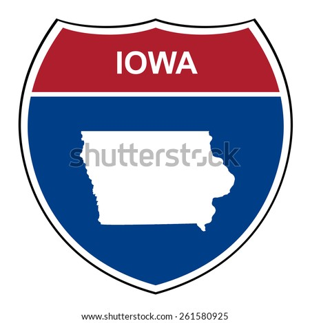 Iowa American interstate highway road shield isolated on a white background. - stock photo