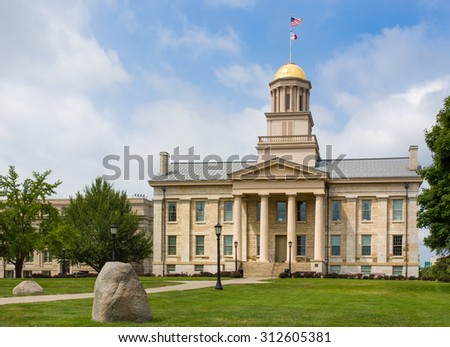 IOWA CITY, IA/USA - AUGUST 7, 2015: Iowa Old Capitol Building at the University of Iowa. The Iowa Old Capitol Building is the original Iowa state capitol.