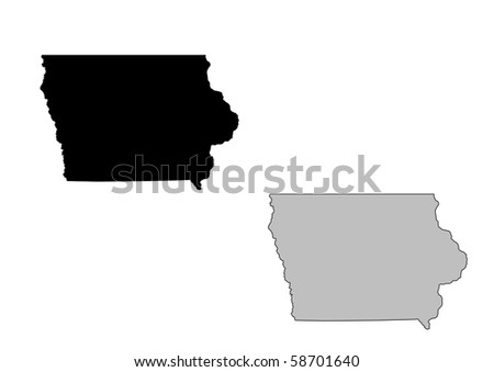 Iowa map. Black and white. Mercator projection. - stock photo
