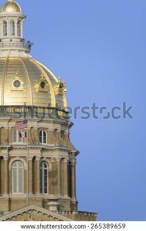 Iowa State Capital with close-up of golden dome, Des Moines, Iowa - stock photo