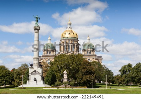 Iowa State Capitol Building, Des Moines - stock photo