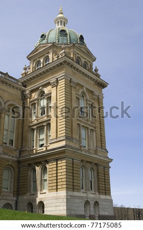Iowa State Capitol corner section under dome - stock photo
