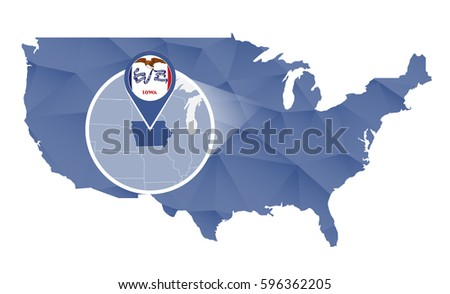 Isometric Map Flag Iowa D Isometric Stock Vector - Iowa state on a us map