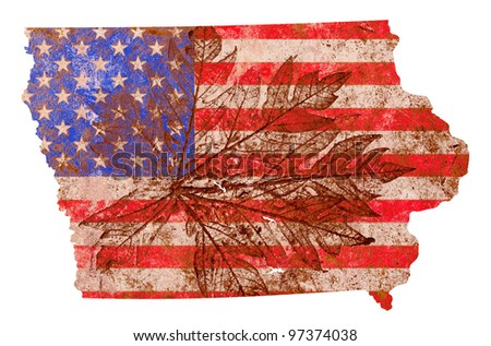 Iowa state of the United States of America in grunge flag pattern isolated on white background - stock photo
