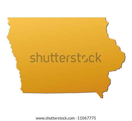 Iowa Usa Light Blue Map Shadow Stock Illustration - Iowa usa map