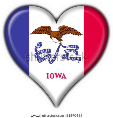 Iowa (USA State) button flag heart shape - stock photo