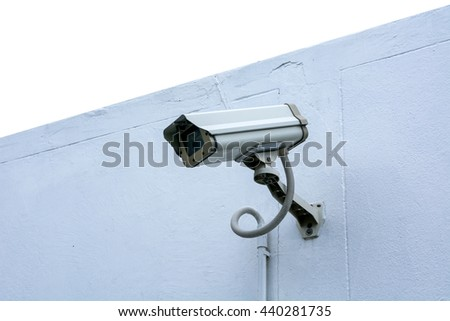 IP camera on white wall