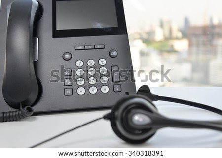 IP Phone Headset - stock photo