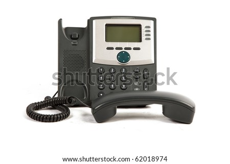 IP Phone Off The Hook On White Isolated Background - stock photo