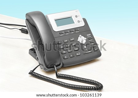IP phone with a display table at the isolated - stock photo