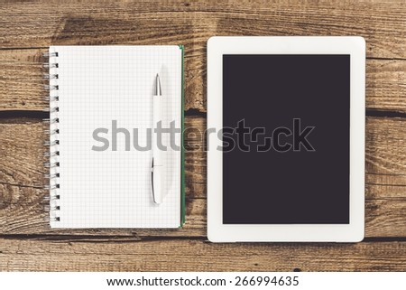 Ipad, from above, page. - stock photo