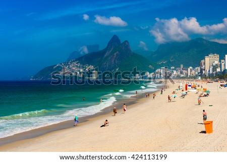 Ipanema and Leblon beach and mountain Dois Irmao (Two Brother) in Rio de Janeiro, Brazil - stock photo