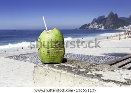 Ipanema Beach in the morning in Rio de Janeiro, Brazil - stock photo