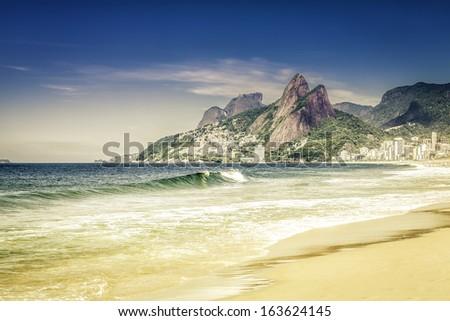 Ipanema beach in the morning, Rio de Janeiro - stock photo