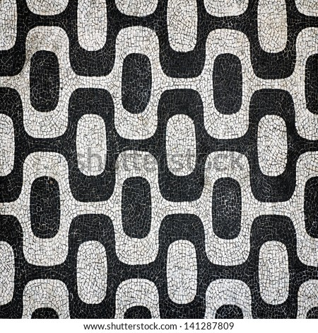 Ipanema Beach sidewalk pattern in Rio de Janeiro, Brazil - stock photo