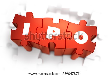 IPO - Text on Red Puzzles with White Background. 3D Render.  - stock photo