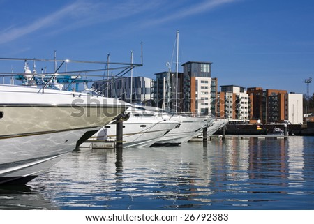 ipswich marina and skyline with university - stock photo