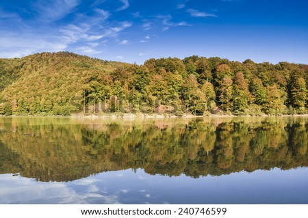 Irabia reservoir and Irati forest, Navarre (Spain) - stock photo