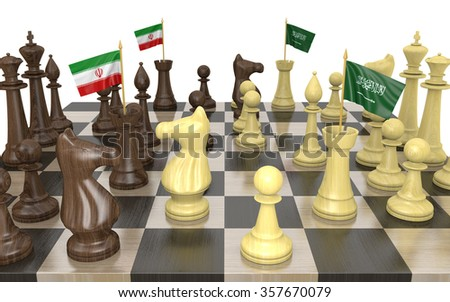 Iran and Saudi Arabia foreign policy strategy and power struggle - stock photo