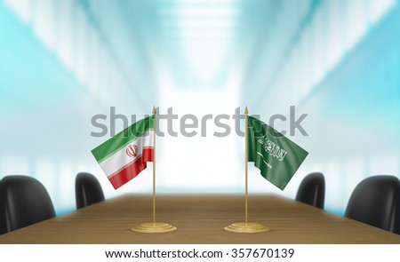 Iran and Saudi Arabia relations and trade deal talks 3D rendering - stock photo