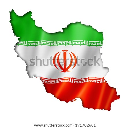 Iran flag map, three dimensional render, isolated on white - stock photo